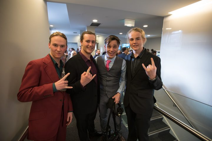 The members of Alien Weaponry with Music 101's Alex Behan at the Silver Scrolls 2017