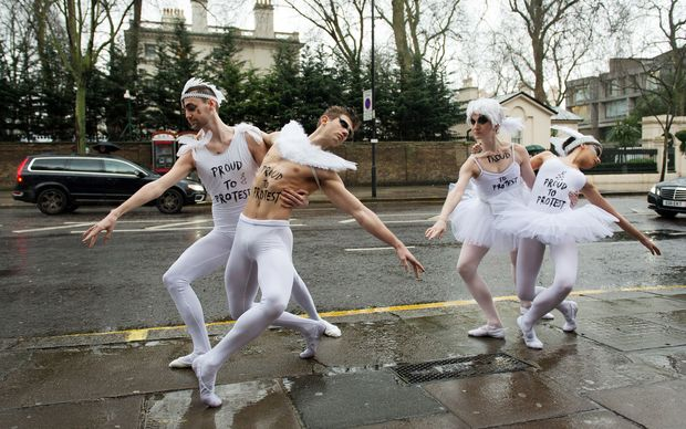 Dancers perform part of Swan Lake at a protest near Russia's embassy.