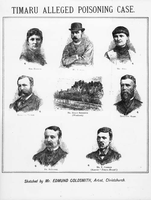 Frontispiece of a pamphlet about the Hall poisoning case. Feature images of the major figures in case