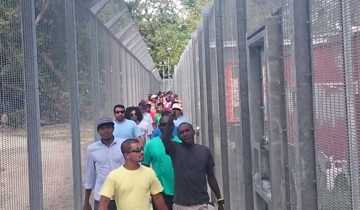 Detainees gather for the 60th day of protest on Manus Island.