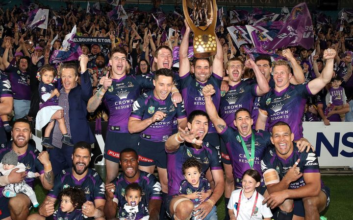 Melbourne Storm celebrate their NRL Grand Final win.