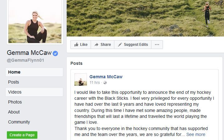 Gemma McCaw confirmed her retirement on social media.