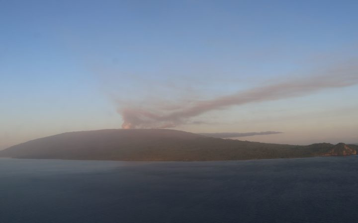 The volcano on Ambae is belching a plume of smoke and ash.