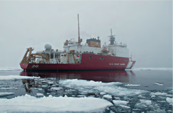 Typical rotted ice in the southern Beaufort Sea in August 2014, observed during an expedition aboard USCGS Healy.
