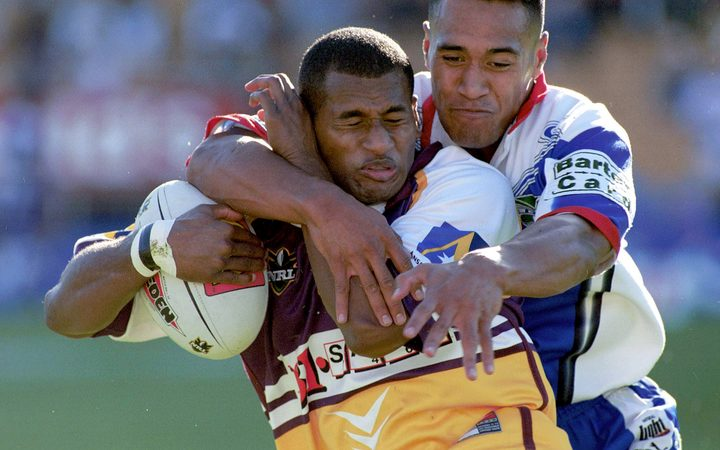 A young Lote Tuqiri playing for the Brisbane Broncos in 2000, the same year he represented Fiji at the Rugby League World Cup.