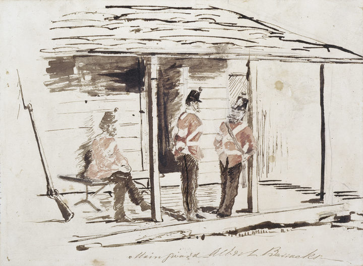 Watercolour sketch by Thomas Matravers of 3 guards at Albert Barracks (c.1863-1868). Sir George Grey Special Collections, Auckland Libraries, 3-137-26a