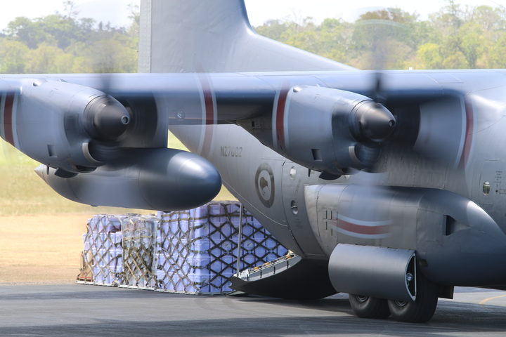 RNZAF Hercules delivers aid supplies to Vanuatu volcano evacuees