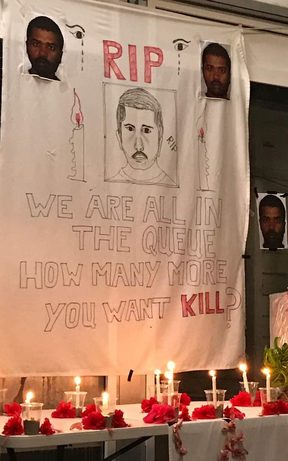 The shrine for Rajeev Rajendran at the Manus Island detention centre.