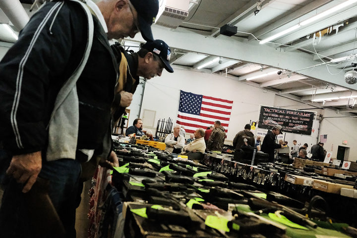 Prospective buyers at a gun show in Ohio, 2016