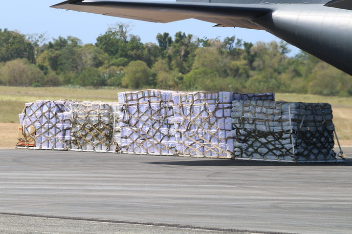 The NZ Defence Force delivered 800 shelter kits, 800 tarpaulins, 200 mother-and-baby kits and five generators.