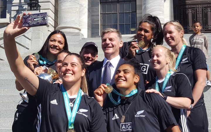 National Party leader Bill English with the Black Ferns at Parliament. Photo / Chris Bramwell