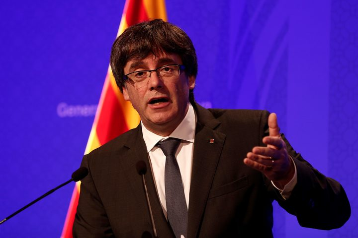 President of Catalonia Carles Puigdemont holds a press conference after a meeting with the members of the Catalan government