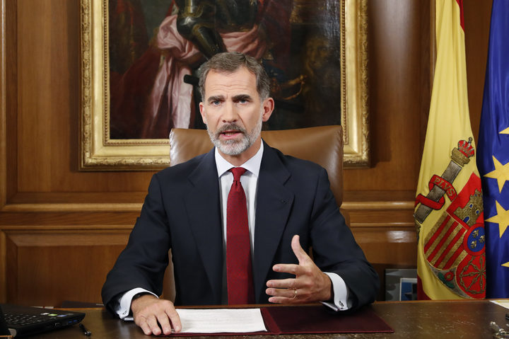 Spain's King Felipe VI addresses the nation in Madrid, as the country grapples with the independence drive in Catalonia.