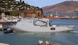 The HMNZS Canterbury arriving at the Port of Lyttelton with emergency supplies on 28 February 2011.