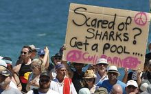 Protesters at Cottesloe Beach, Perth.