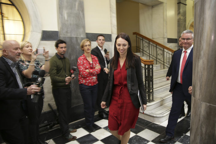 Jacinda Ardern NZFirst/Labour meeting