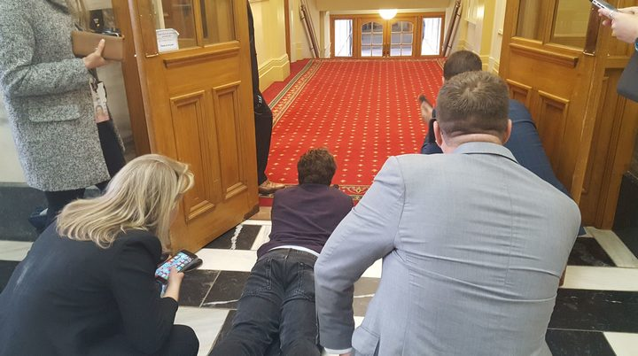 Political reporters on stakeout in Parliament