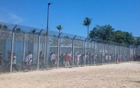 Detainees assemble for the 62nd day of protest on Manus Island.