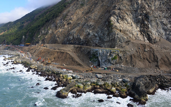 Progress is being made on clearing the slips, such as Ohau Point, that blocked State Highway 1..