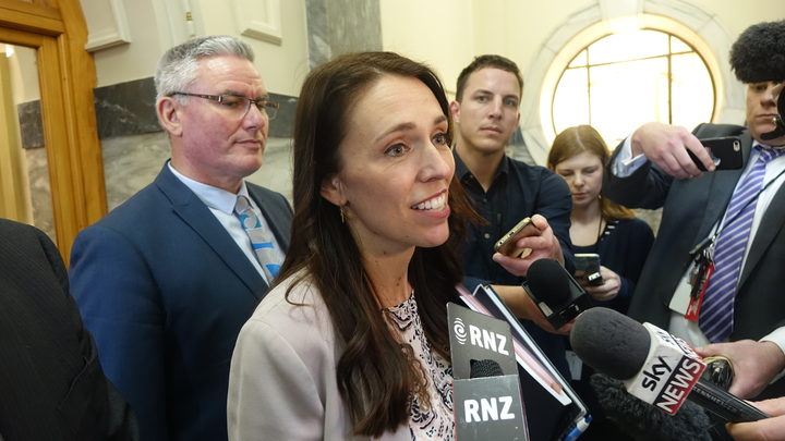 Jacinda Ardern speaking to the media after negotiations with New Zealand First.