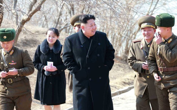 North Korean leader Kim Jong-Un with his younger sister Kim Yo-Jong, inspecting the Sin Islet defence company in Kangwon province. (Details unverified)