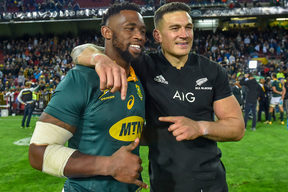 Siya Kolisi of South Africa and Sonny Bill Williams of New Zealand after the Rugby Championship at Newlands Stadium.