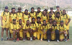 Papua New Guinea celebrate beating Scotland in the second ODI in Port Moresby.
