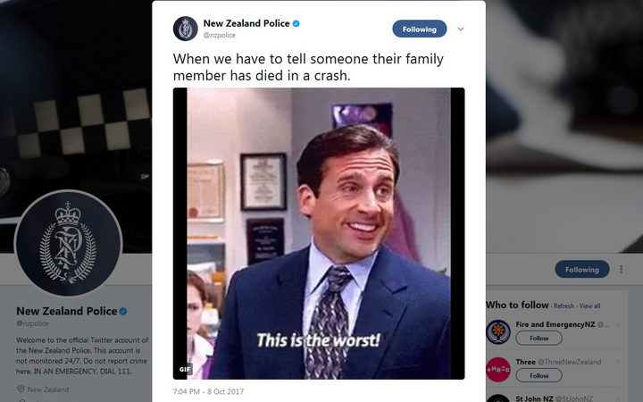 New Zealand Police sorry for crash death tweet