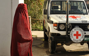 An Afghan woman at the International Committee for the Red Cross office in Kabul.