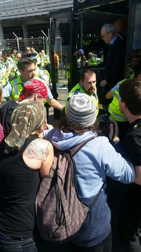 Police and protesters at Westpac Stadium in Wellington.