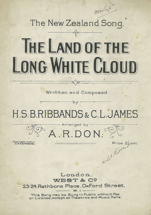 'Land of the Long White Cloud' by NZEF soldiers Harry Ribbands and Charles James, 1917