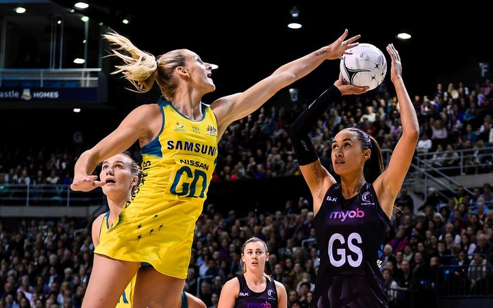 Maria Tutaia of the Silver Ferns shoots over April Brandley of the Diamonds during the Constellation Cup 2017.