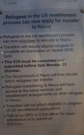 The note posted in the Manus detention centre.