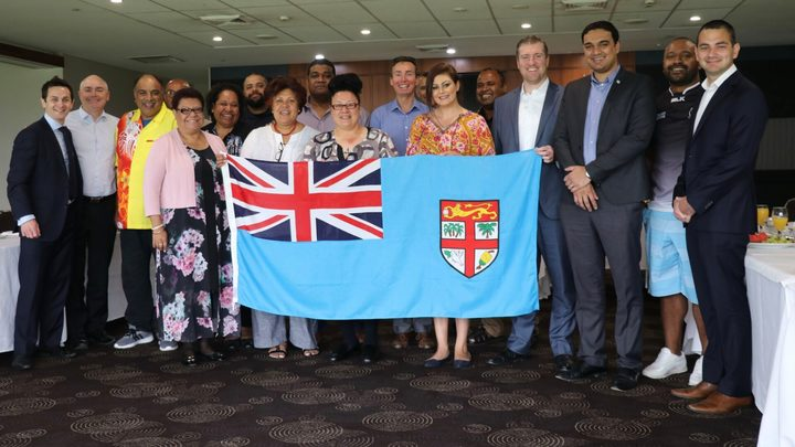 Attendees at the Cronulla Sharks' Fiji Day breakfast.