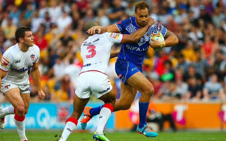 Cronulla's Sam Tagataese during the Four Nations test match between England and Samoa in 2014.