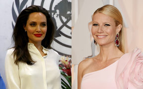 Angelina Jolie, left, and Gwyneth Paltrow say they both were sexually harassed by Harvey Weinstein early in their careers