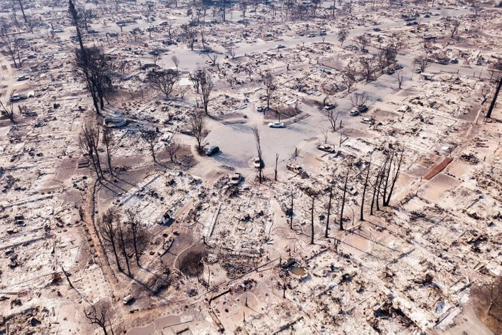 Fire damage is seen from the air in the Coffey Park neighborhood in Santa Rosa, California.