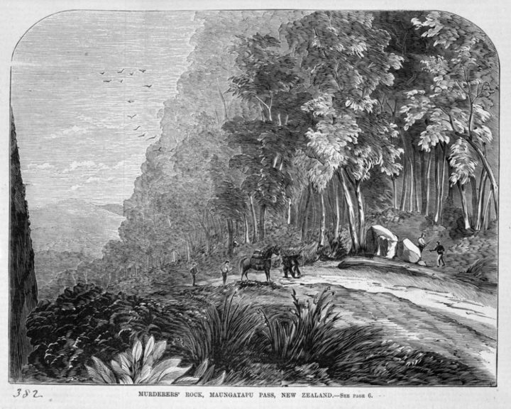 An 1866 Australian wood engraving of the holdup scene.