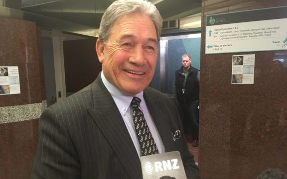 Winston Peters after a day of meeting with his party.