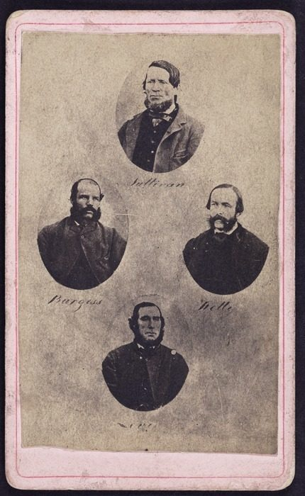 Four separate photographs of the four men involved in the Maungatapu Murder. They are Thomas Joseph Sullivan, Philip Levy, Richard Burgess, and Thomas Kelly.
