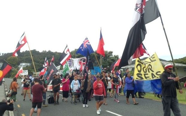 Anti-oil and gas exploration protesters arriving in Waitangi.
