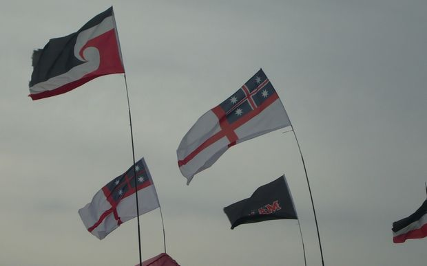 Flags flying at Waitangi.