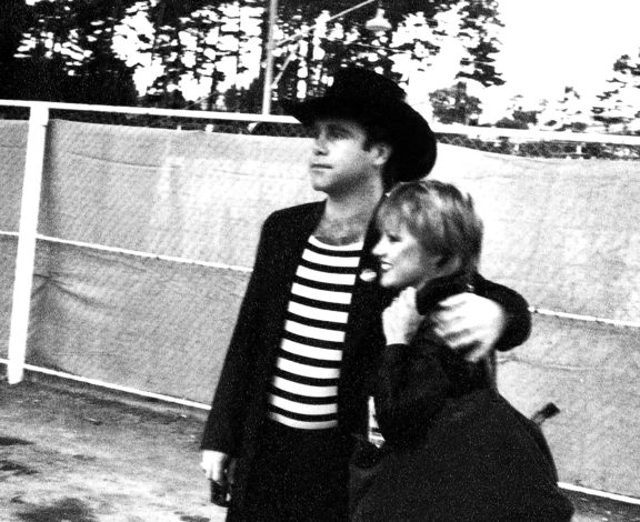 Sharon O'Neill and Elton John in Wellington, 1980 where she and Jon Stevens joined him for a song.