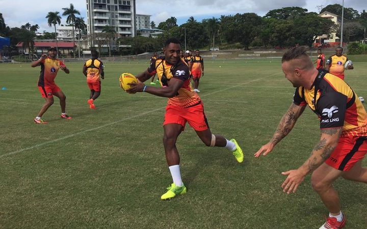 The PNG Kumuls squad training in Suva.