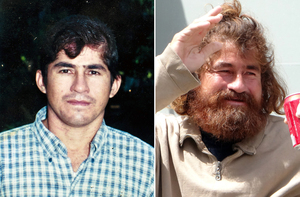 Jose Salvador Alvarenga before he set sail and after he was rescued.