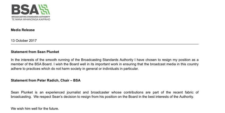 The Broadcasting Standards Authority statement on Sean Plunket's resignation. Photo / screenshot
