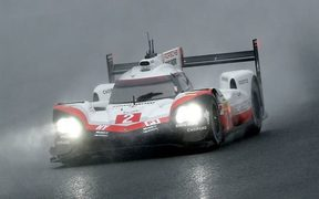 Atrocious weather conditions made driving conditions treacherous for Hartley and his Porche team.