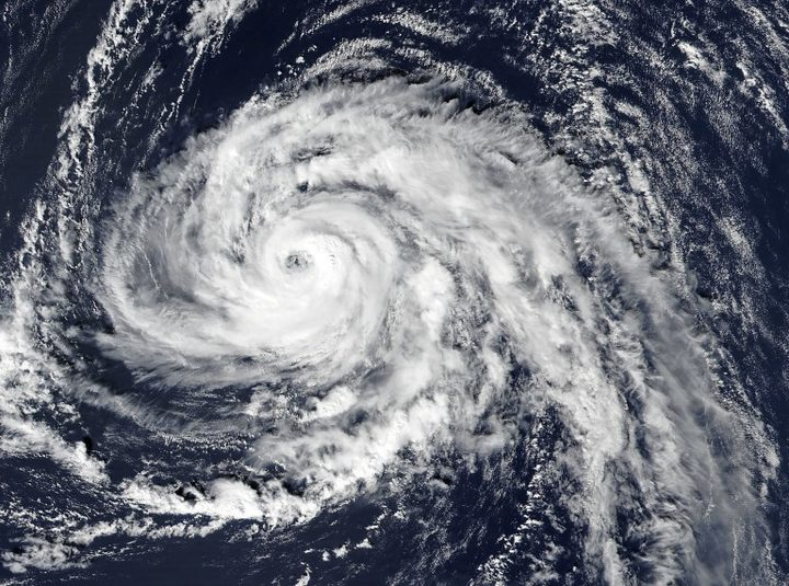 A satellite image captured on 13 October 13, shows hurricane Ophelia approaching the Azores islands in the Atlantic Ocean.