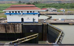 The Miraflores locks at the Panama Canal.