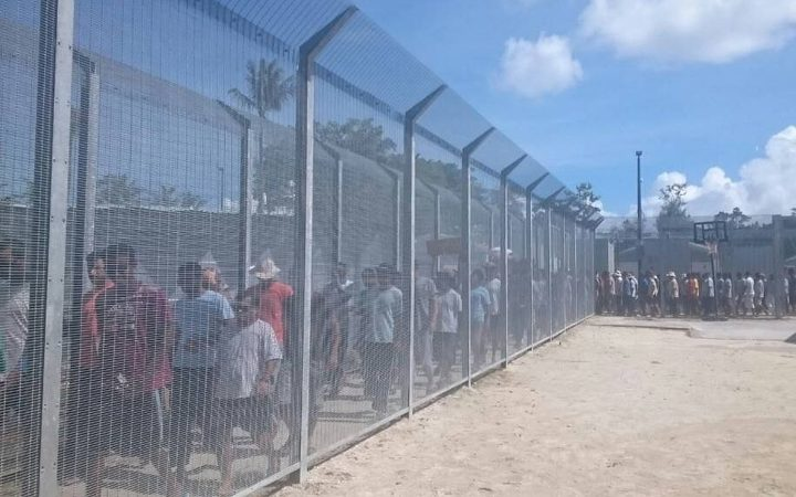 An image from the 75th day of protest at the Manus detention centre
